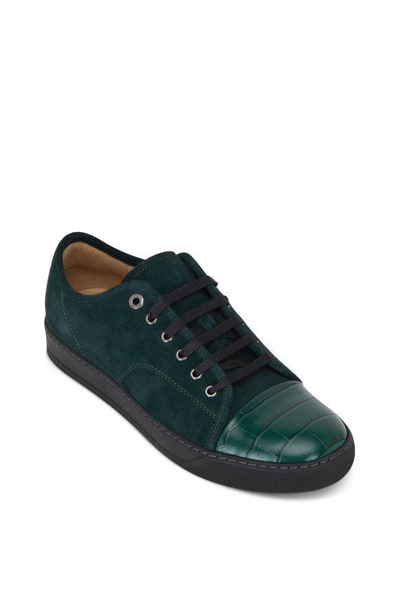 Lanvin Green Suede & Croc Embossed Cap Toe Sneaker