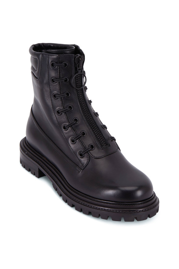 Aquazzura Kicks Bootie Flat Black Leather Combat Boot