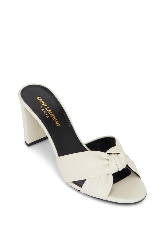 Saint Laurent Bianca Pearl Leather Knotted Mule Sandal, 75mm