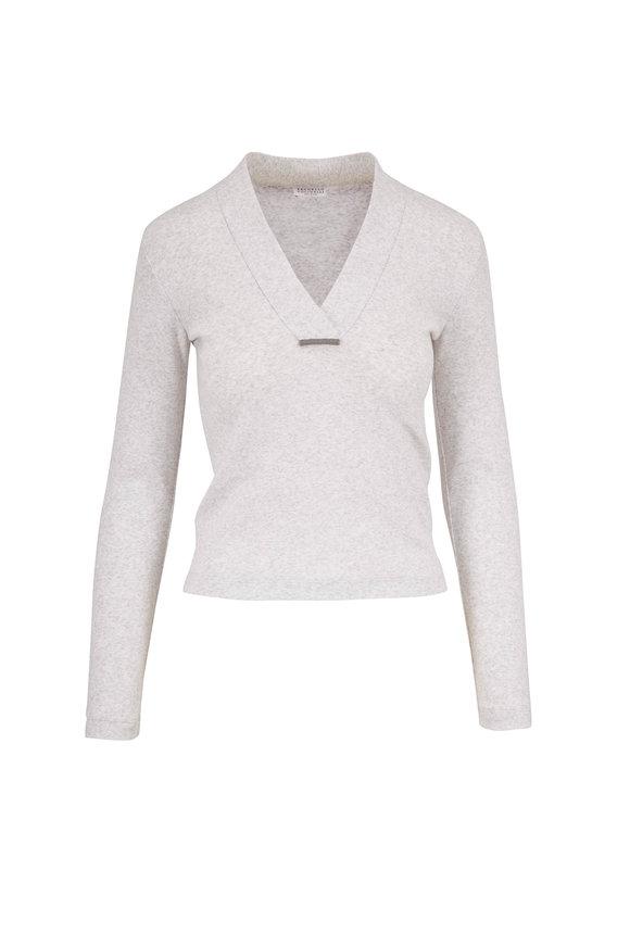 Brunello Cucinelli Stracciatella Stretch Cotton Cropped T-Shirt
