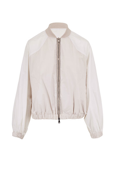 Brunello Cucinelli - Chalk Taffeta Monili Trim Zip Bomber
