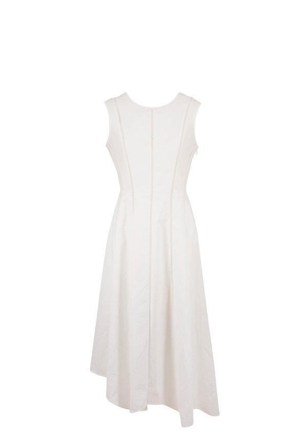 Brunello Cucinelli White Poplin Embroidered Seam Sleeveless Dress