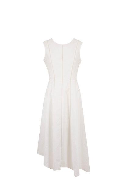 Brunello Cucinelli - White Poplin Embroidered Seam Sleeveless Dress