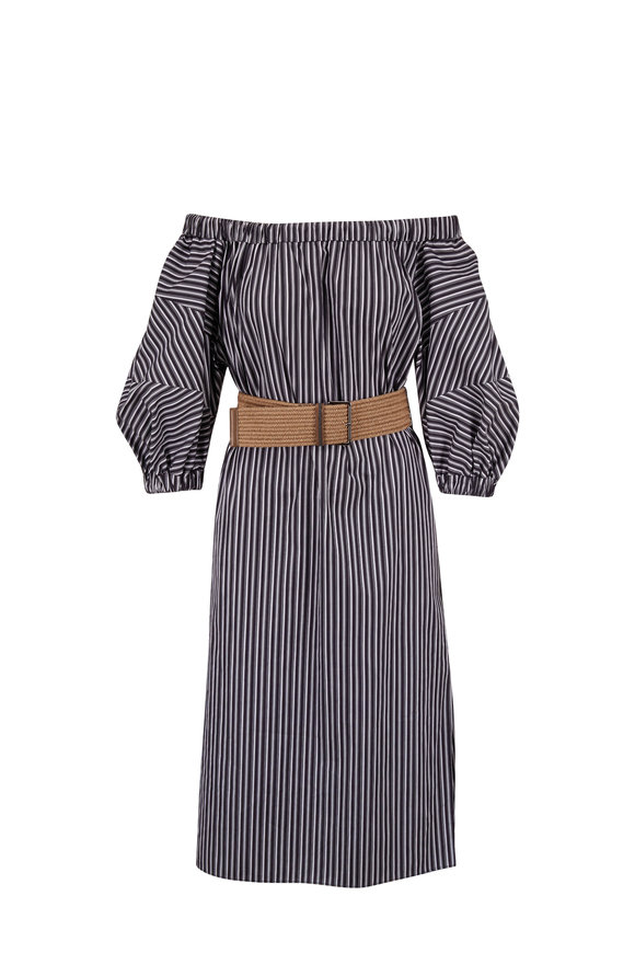 Brunello Cucinelli White & Blue Stripe Off-The-Shoulder Belted Dress
