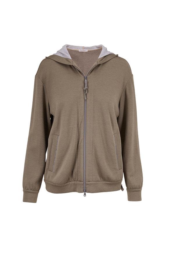 Brunello Cucinelli Military Cotton & Silk Front Zip Spa Hoodie