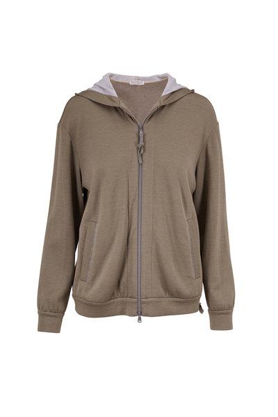 Brunello Cucinelli - Military Cotton & Silk Front Zip Spa Hoodie