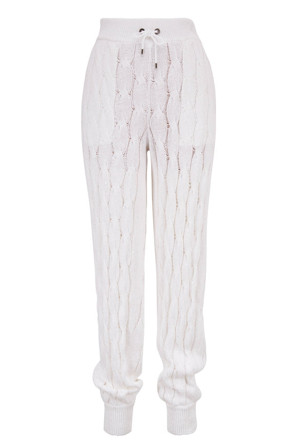 Brunello Cucinelli White Cotton & Linen Cable Knit Paillette Pant