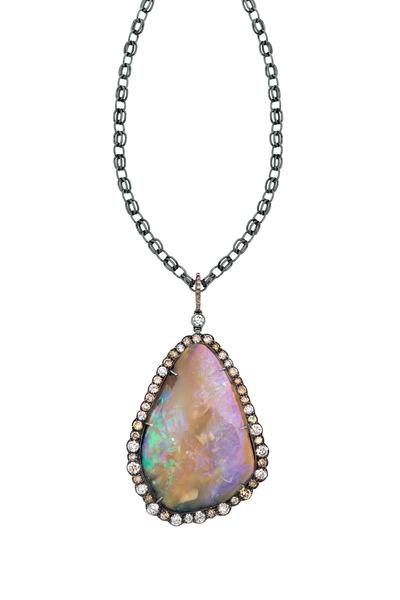 Kimberly McDonald - Gold Boulder Opal Natural Brown Diamond Necklace