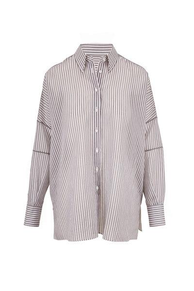 Brunello Cucinelli - Gray & White Stripe Button Down Tunic