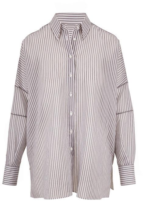 Brunello Cucinelli Gray & White Stripe Button Down Tunic
