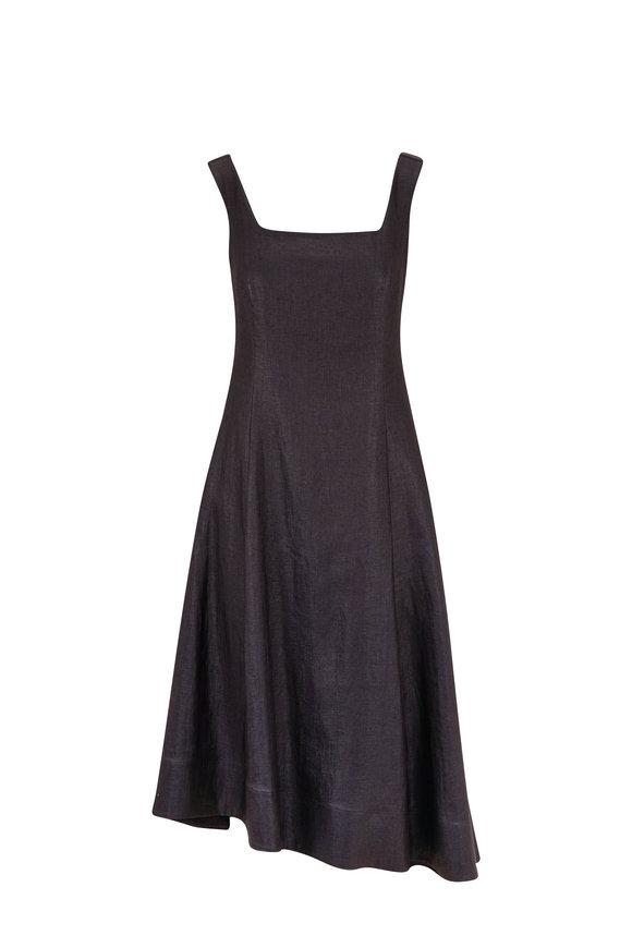 Brunello Cucinelli Black Coated Linen Sleeveless Dress