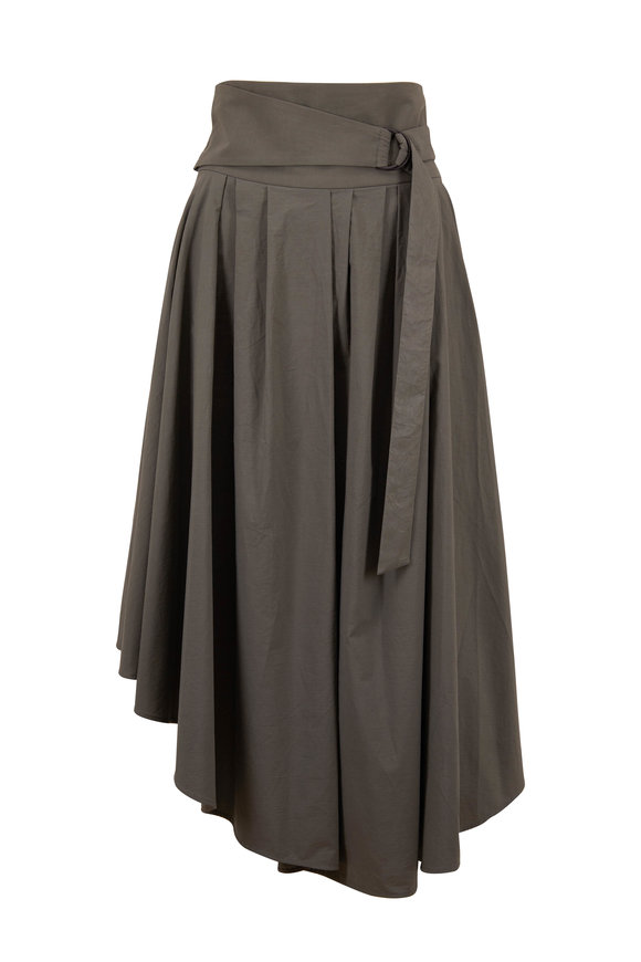 Brunello Cucinelli Mush Cotton Pleated Midi Skirt