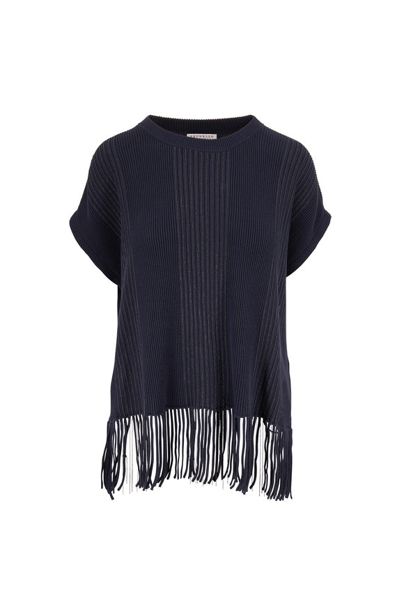 Brunello Cucinelli Midnight Ribbed Cotton Monili Stripe Sweater