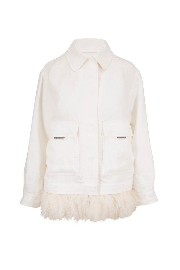 Brunello Cucinelli White Linen Ostrich Feather Hem Jacket