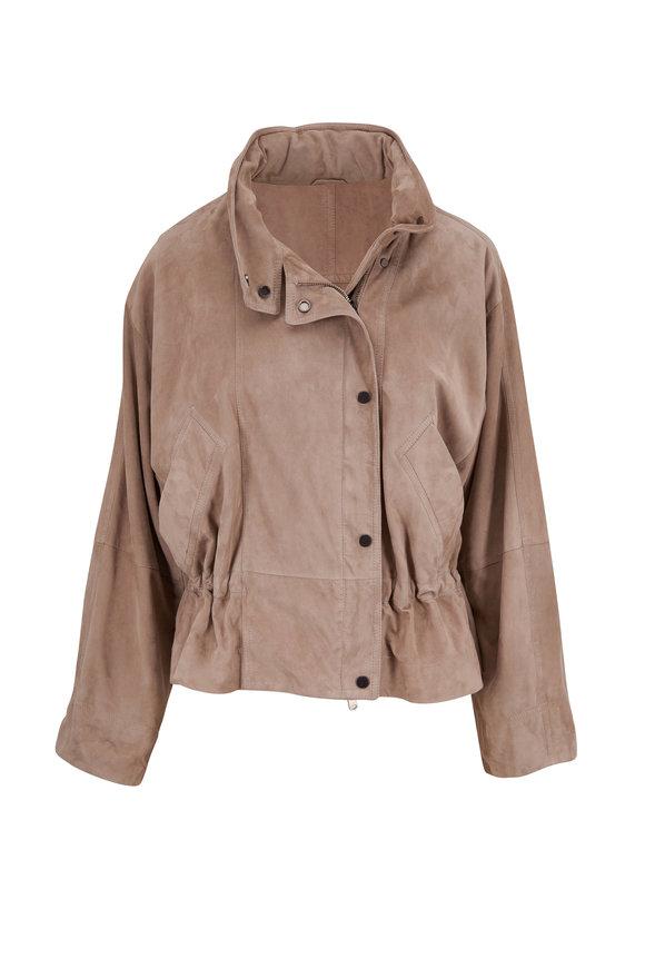 Brunello Cucinelli Light Gray Suede Stow Away Hood Jacket