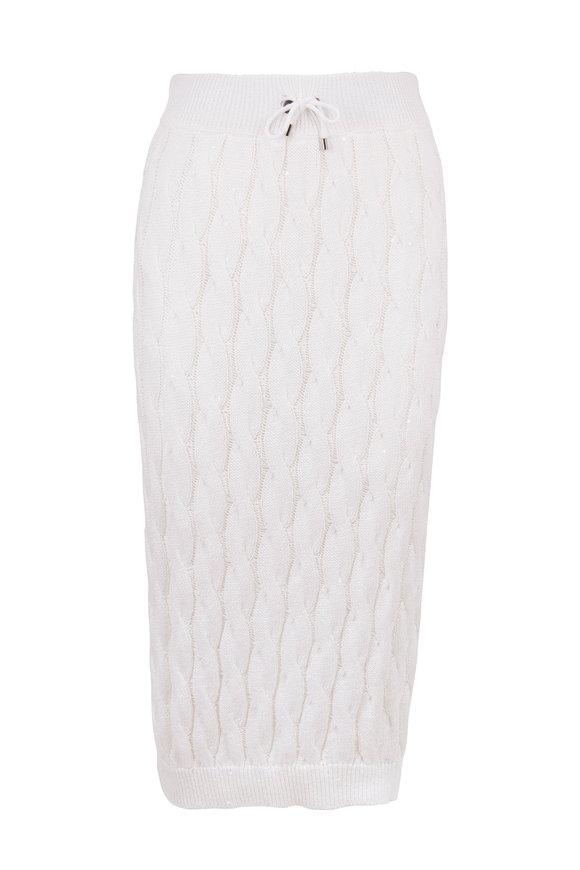 Brunello Cucinelli White Cotton & Linen Cable Knit Paillette Skirt