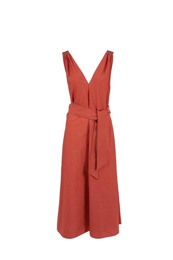 Brunello Cucinelli Canyon Stretch Cotton V-Neck Sleeveless Dress
