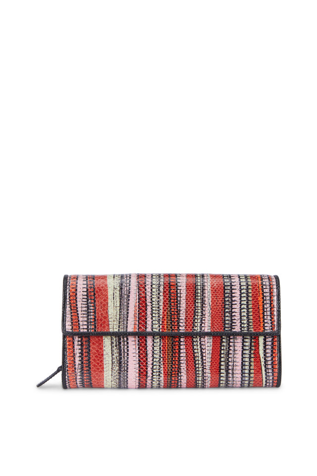 Red Multicolor Karung Flap Wallet