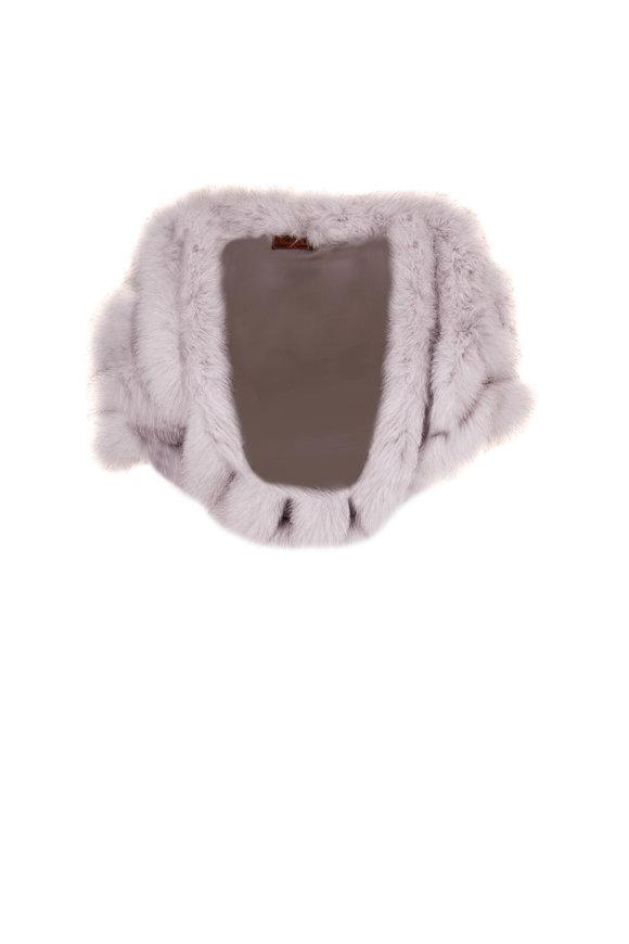 Viktoria Stass Kendal Light Gray Fox Trim & Silk Cape