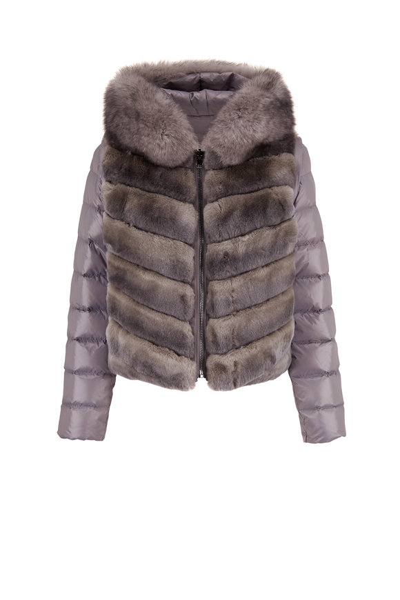 Viktoria Stass Gray Fur Trim Reversible Puffer Jacket