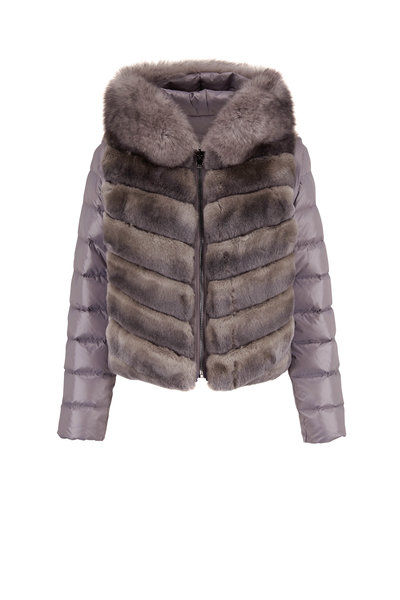Viktoria Stass - Gray Fur Trim Reversible Puffer Jacket