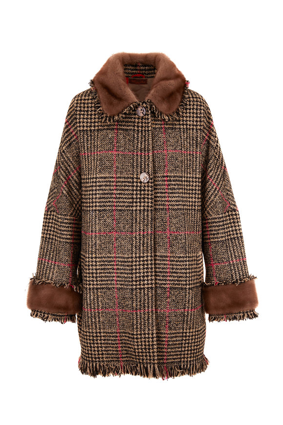 Viktoria Stass Babilon Camel & Red Fur Trim Oversize Coat