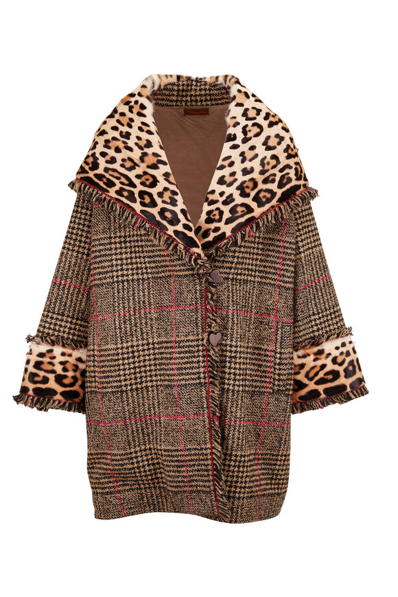 Viktoria Stass Babilon Camel & Red Tweed & Animal Print Coat