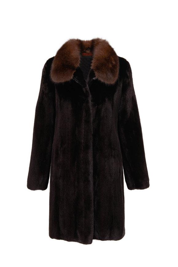 Viktoria Stass Black Lama Mink & Sable Collar Coat