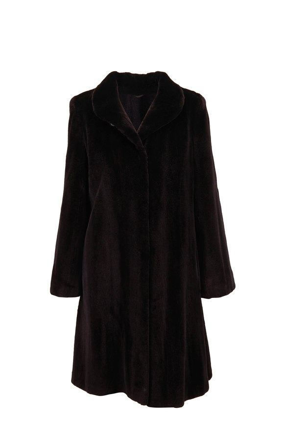 Viktoria Stass Black Sheared Mink Coat