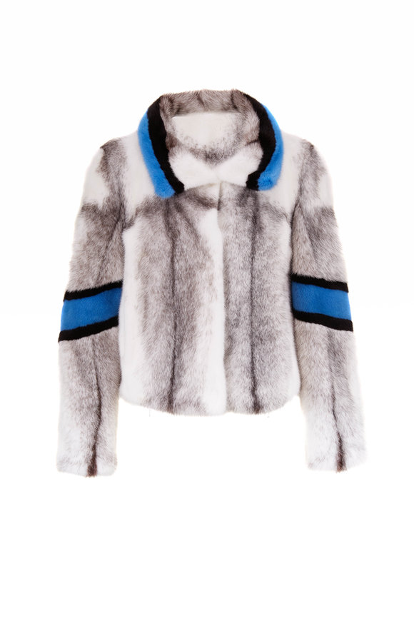 Viktoria Stass White, Blue & Black Cross Mink Jacket