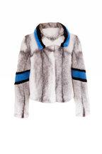 Viktoria Stass - White, Blue & Black Cross Mink Jacket