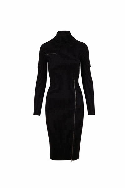 Tom Ford - Black Stretch Wool Zip Detail Long Sleeve Dress