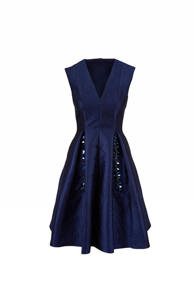 Talbot Runhof - Torin9 Navy Jacquard Sleeveless Dress