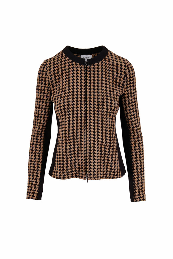 Akris Punto Black & Tatami Mini Houndstooth Knit Jacket