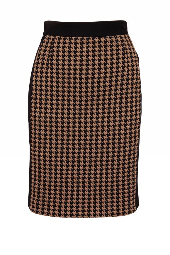 Akris Punto Black & Tatami Mini Houndstooth Mini Skirt