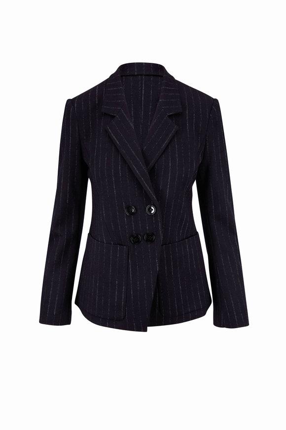 Dorothee Schumacher Classic Twist Navy Pinstripe Jacket