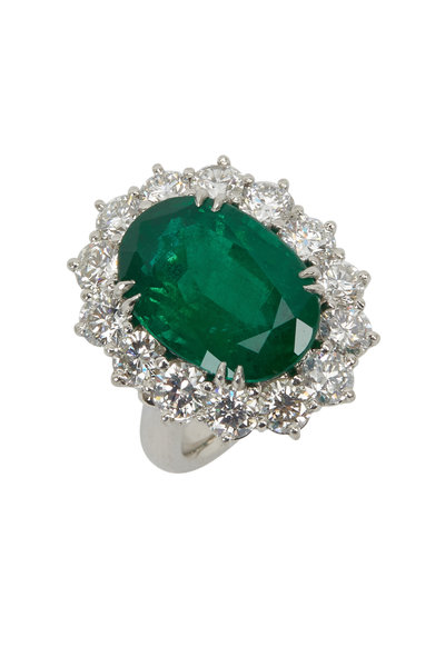 Louis Newman - Platinum Green Emerald White Diamond Cocktail Ring