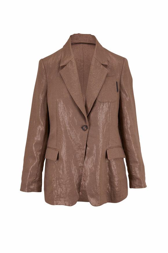 Brunello Cucinelli Fango Linen Shiny Single Button Blazer