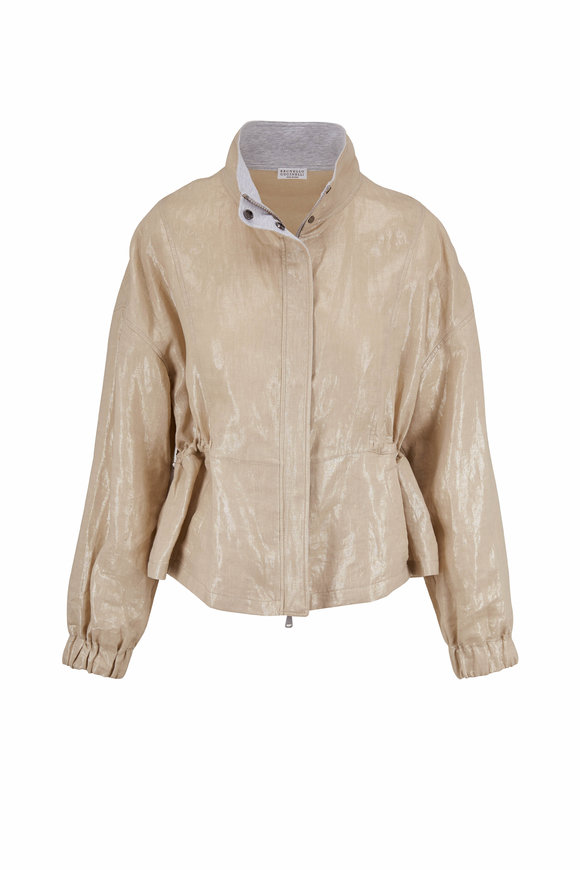 Brunello Cucinelli Light Gold Coated Linen Drawstring Jacket