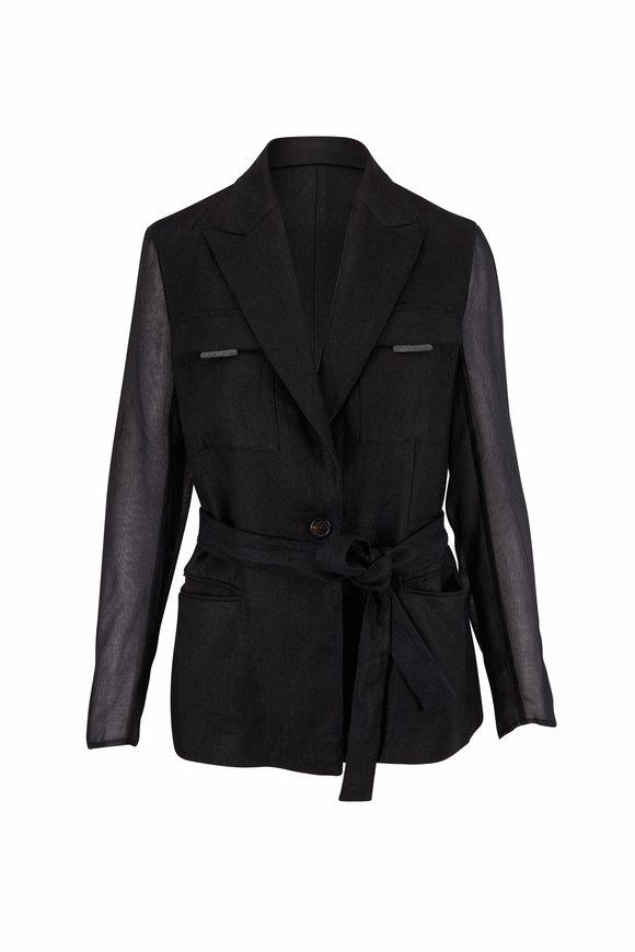 Brunello Cucinelli Black Linen Sheer Sleeve Belted Jacket
