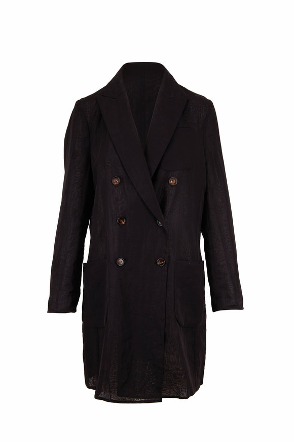 Brunello Cucinelli Black Cotton Voile Double-Breasted Long Coat