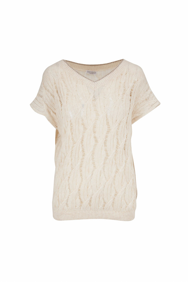 Brunello Cucinelli Off White Open Cable Knit Short Sleeve Sweater