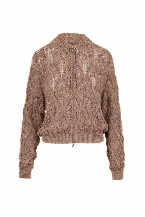 Brunello Cucinelli Tobacco Linen & Cotton Diamond Crochet Bomber