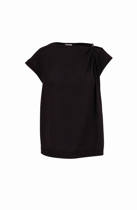 Brunello Cucinelli Black Silk Crepe Sleeveless Blouse