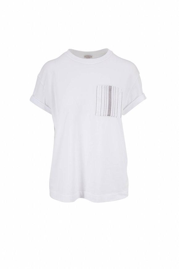 Brunello Cucinelli White Cotton Monili Pocket Crewneck T-Shirt