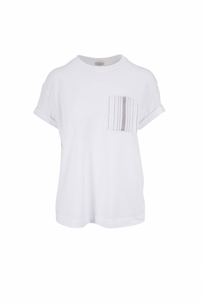 Brunello Cucinelli - White Cotton Monili Pocket Crewneck T-Shirt