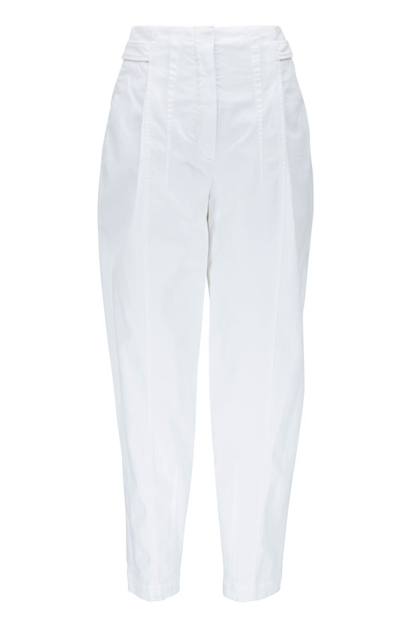 Brunello Cucinelli White Garment Dyed Back Snap Pleated Pant