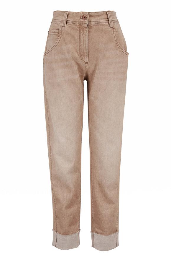 Brunello Cucinelli Beige Garment Dyed Cuffed Jean