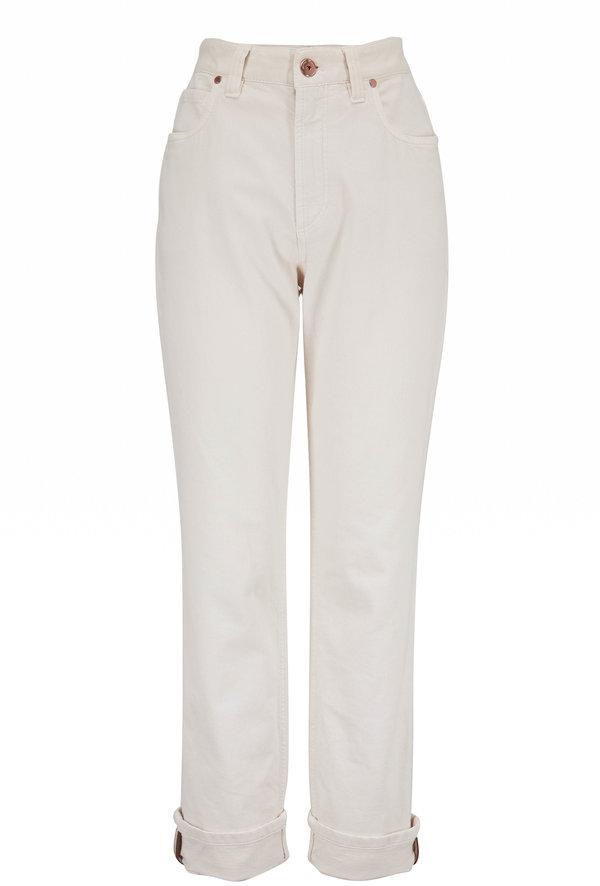 Brunello Cucinelli Sand Stretch Cotton Straight Leg Jean