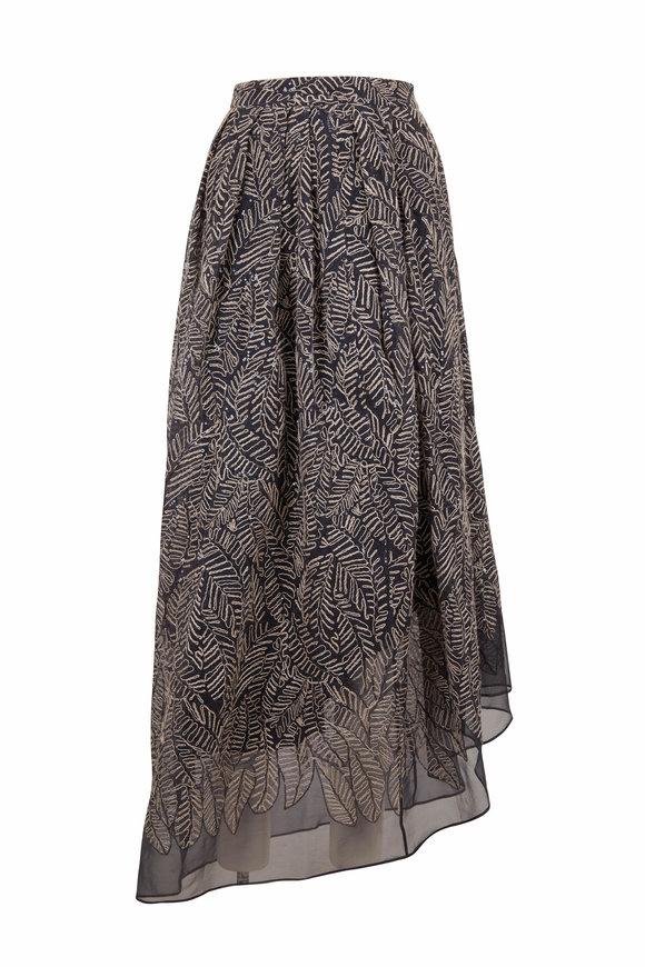 Brunello Cucinelli Volcano Organza Leaf Motif Embroidered Maxi Skirt